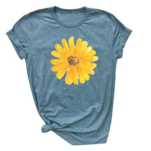 Respctful ♫♫Sunflower Tops Clothes for Women Floral prin Graphic Print Short Sleeve Casual Tees Tops Blue