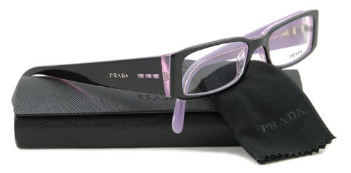 prada vpr 10f 3ax-1o1 black/lavender eyeglasses
