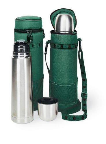 Picnic Time Kona Express Stainless Steel Vacuum Fl-Hunter Green w/ Black Trim (Kona Stainless Steel Flask)
