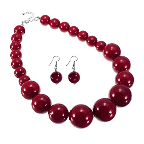 Chunky Bead Jewelry - Jerollin Fashion Resin Simulated Pearl Red Beads Chain Chunky Choker Pendant Bib Necklace Hook Earrings