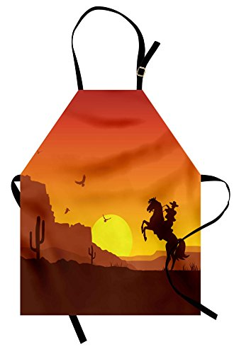 Lunarable Western Apron, American Wild West Desert with Cowboy on Horse Sunset Cactus Arid Lands, Unisex Kitchen Bib Apron with Adjustable Neck for Cooking Baking Gardening, Orange Yellow Brown