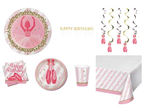 (Ballerina Birthday Party Supplies, 107 piece set, Serves 16 - Includes Dinner and Cake Plates, Napkins, Cups, Tablecloth, Swirl Hanging Decorations, Favor Bags and Happy Birthday Candles)