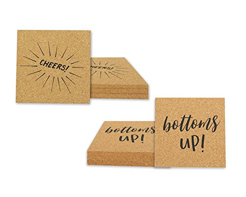 Cork Bottom Coaster (8-Pack Cork Coasters - Large Square Absorbent Printed Bar Drink Coaster Set - Cheers and Bottoms Up 4.3 x 4.3 x 0.25 Inches)
