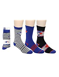 MLB Boy's Toronto Blue Jays 2016 Licensed 3-Pack Crew Socks (Shoe Size 3-6)