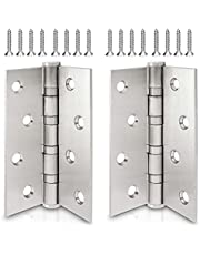 ECENCE Roestvrij stalen deurscharnier stuks, deurscharnier, fitting, 4-voudig staalkogel gelagerd, roestvrij stalen scharnier 201, dikte van het materiaal 2,5 mm + schroeven