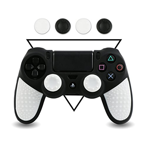 LZETC Silicone PS4 Controller Skin - BPA Free Protector Cover Case for Sony PlayStation 4 Controller with Matching Thumb Grips, 2 Sets, Black White (Set Case Skin Silicone)