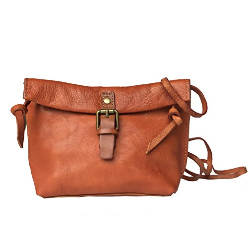 Rhathymia Handmade Vintage Women Small Genuine Leather CrossBody Bag Shoulder Handbags Cell Phone Purse (bronze) by Rhathymia