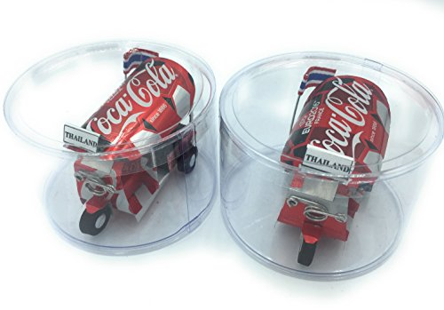 WD store Thai tuktuk Classic Handmade Thai TUK TUK Taxi Made of Coca Cola can Aluminium Model Collection Show in Room Home Office or Great Gift All seasion Put in Round Plastic Clear Box 2 Set