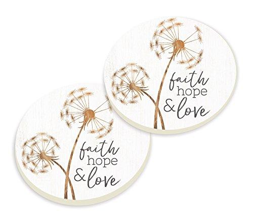 P Graham Dunn Faith Hope Love Dandelion White 3 x 3 Absorbent Ceramic Car Coasters 2 Pack by P Graham Dunn