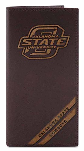 NCAA Oklahoma State Cowboys Men's Zep-Pro Pull-Up Leather Long Secretary Embossed Wallet, Brown, One Size (Oklahoma State Brown Leather)