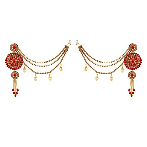 Saissa Gold Plated Traditional Stylish Bahubali Indian Earrings Jewelry for Girls and Women