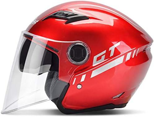 NJ ヘルメット- 電動バイクバッテリーカーヘルメット男性と女性四季ユニバーサルヘルメット (色 : 赤, サイズ さいず : 18x21.5cm)
