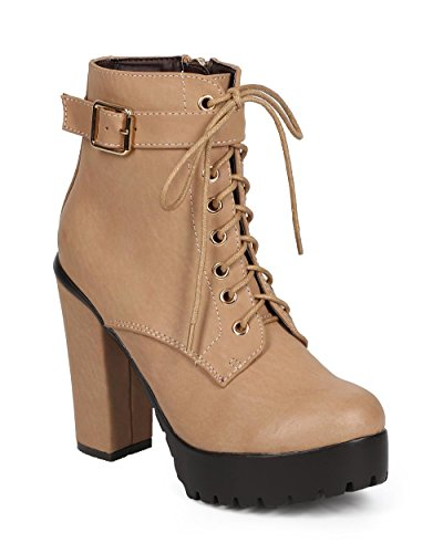 Women Leatherette Chunky Heel Zip Lace Up Combat Boot DA19 - Taupe Leatherette (Size: 9.0)