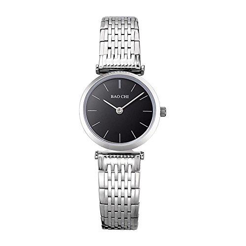 Luismia Gold Quartz Wrist Watch, Round Black Dial Plate Metal Band Quartz Watch for Women - Fashion Retro Jewelry Dress Watch for Lady