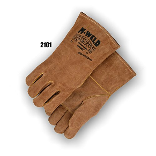 (12 Pair) Majestic WELDERS GLOVES WITH KEVLAR AND FIRE RETARDANT LINER - LARGE, BROWN(2101/10)