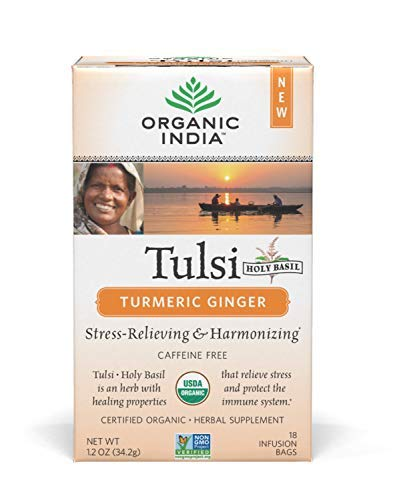 ORGANIC INDIA Tulsi Turmeric Ginger Tea - Delicious Holy Basil and Turmeric Ginger Blend Rich in Antioxidants - Certified Organic, Non-GMO, and Fair Trade, 18 Tea Bags (1 Pack)