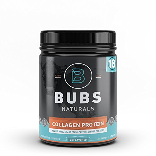 BUBS Naturals Pasture Raised Grass-Fed Collagen Peptides | Paleo & Keto Diet Friendly | Non - GMO | Dairy-Free Gluten-Free | Mixes Easy | Unflavored Collagen Powder |