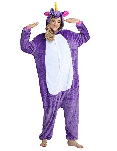 Pigiama Unicorno Animali Tuta Costume Carnevale Halloween Festa Cosplay per Regalo per Ragazza per Adulti Unisex Costumi e Travestimenti Viola