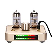 Nobsound Little Bear P2 Mini 6C11 Vacuum Tube Headphone Amplifier Stereo Hi-Fi Audio Amp; Replaceable Tube and OP AMP; with LED VU Meter Music Audio Spectrum (Gold)