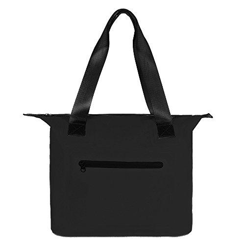 Waterproof Dry Bag Tote Style Gym Bag Sports Duffle Holdall Tote Travel Bag Swim Bag for Women and Men 500D PVC Watertiper Zipper Beach Kayaking Sailing Cycling, 30L, 8 Colours Black