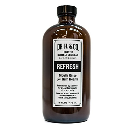 Dr. H. & Co. Dentist Formulated Refresh Mouthwash – All Natural Herbal and Holistic Mouth Rinse for Healthy Gums and Teeth (16 oz Glass Bottle)