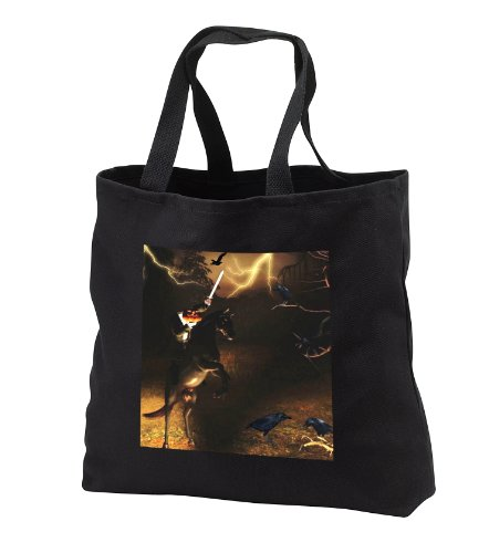 Renderly Yours Autumn And Halloween - Headless Horseman Rides In Sleepy Hollow - Tote Bags - Black Tote Bag 14w x 14h x 3d -