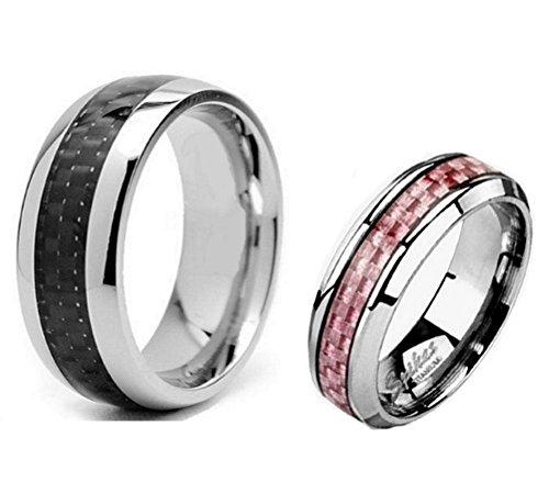 2 Pc His & Hers Titanium Carbon Fiber Wedding Band Ring Set Sizes 5 thru 9 Pink & 9 thru 13 Black