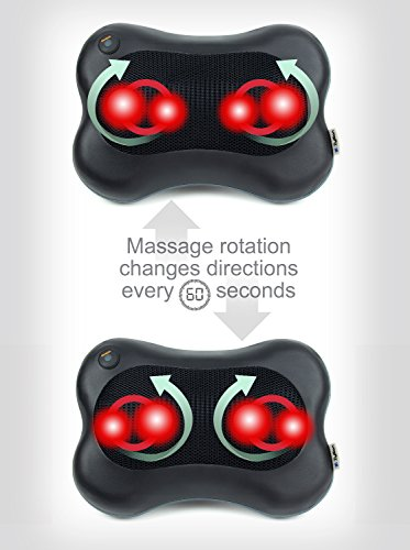 Zyllion ZMA13BK Shiatsu Pillow Massager with Heat for Back, Neck, Shoulders (Black)