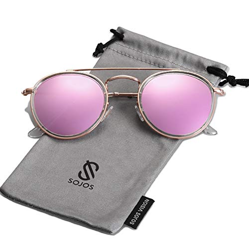 SOJOS Small Round Polarized Sunglasses Double Bridge Frame Mirrored Lens SUNSET SJ1104 with Gold Frame/Pink Mirrored Polarized Lens