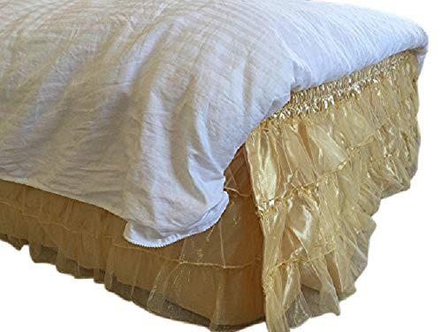 OctoRose Royalty 3 Layer Organza & Satin Easy Fit Bed Dressing Waterfall Bed Skirt Dust Ruffle, Bedskirt (BK-Satin-T/F, Gold) ()