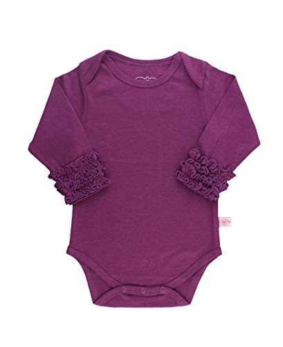 RuffleButts Baby/Toddler Girls Plum Ruffled Long Sleeve Layering Bodysuit - 6-12m