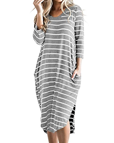 Cnfio Women's Short Sleeve Stripes T Shirt Dress Oversized Boho Long Dresses with Pockets Grey L