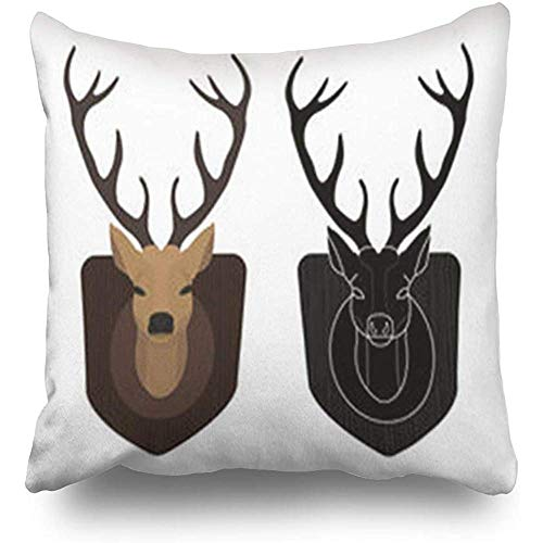 Throw Pillow Covers Graphic Hunting Trophy Stuffed Dummy Taxidermy Deer Head Wildlife Pillowcase Square Size 18 x 18 Inches Decorative Home Bedroom Sofa Couch Cushion Cases -