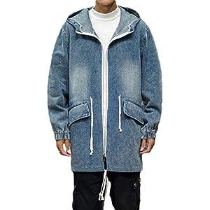Men's  Oversized Mid Long Denim Jean Jacket