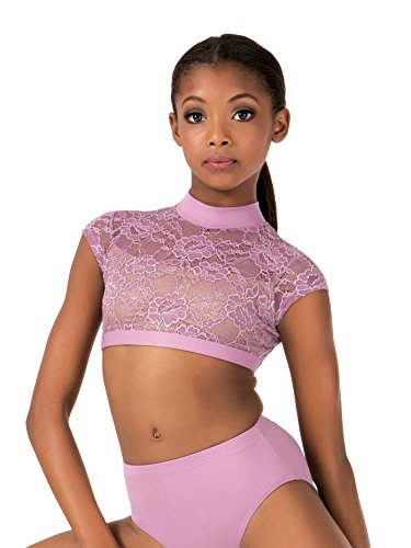 Body Wrappers Girls Lace Cap Sleeve Dance Crop Top (LC1025) -Mauve -8-10