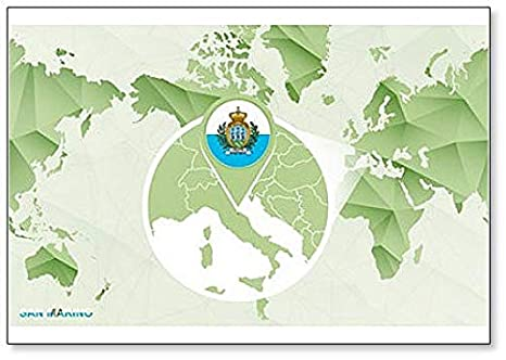 Amazon.com: World Map with Magnified San Marino Map ... on tuvalu on world map, palau on world map, japan on world map, uzbekistan on world map, malta on world map, estonia on world map, andorra on world map, slovenia on world map, djibouti on world map, luxembourg on world map, serbia on world map, liechtenstein on world map, monaco on world map, brunei on world map, liberia on world map, singapore on world map, vatican city on world map, montenegro on world map, kosovo on world map, liechtenstien on world map,