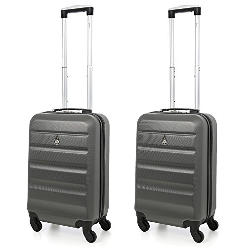 "Aerolite 22x14x9"" American, United & Delta Airlines MAX ABS Hardshell Luggage Suitcase Spinner Carry On Set of 2 by Aerolite"