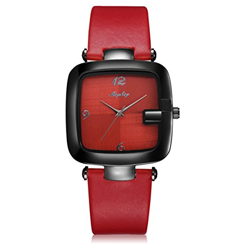 Nadition Watches Clearance !!! Casual Men 's Bussiness Retro Transparent Design Leather Round Band Watch (Red)