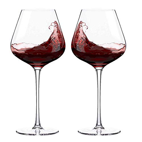 Hand Blown Italian Style Crystal Burgundy Wine Glasses – Lead-Free Premium Crystal Clear Glass – Set of 2 – 21 Ounce – Gift Box for any Occasion