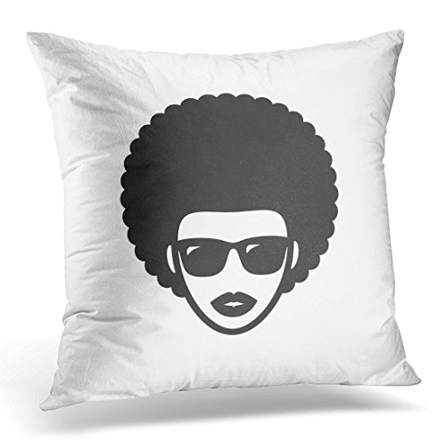 UPOOS Throw Pillow Cover Black Icon Funky Woman in Sunglasses with Afro Hair White Curly Face Decorative Pillow Case Home Decor Square 18x18 Inches - Sunglasses Ghetto