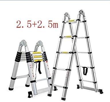 ZGQA de tijera General Perfil, multiuso plegable, de aluminio portable escalera extensible, interior y exterior de múltiples funciones escalera, 150 kg Capacidad de carga (330lb) (Color : 2.5+2.5m): Amazon.es: Bricolaje y herramientas