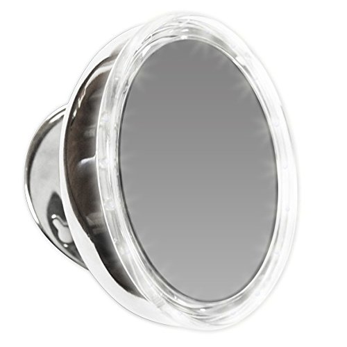 Mirror Place LED Lighted Suction Cup 10X Magnifying Mirror, Battery Operated, with Travel Pouch, MP10110
