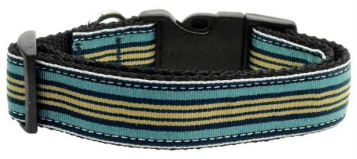 Mirage Pet Products Preppy Stripes Nylon Ribbon Collars, Medium, Light Blue/Khaki