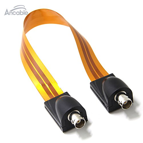 Ancable Ultra Flat Jumper Video Cable for Windows and Doors 1ft,BNC Female to BNC Female (Coax Flat Wire)