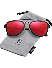 SojoS Gafas De Sol Hombres Mujeres Polarizado Aviador Doble Puente SJ1051