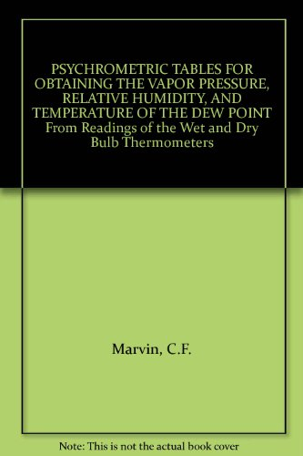 PSYCHROMETRIC TABLES FOR OBTAINING THE VAPOR PRESSURE, RELATIVE HUMIDITY, AND TEMPERATURE OF THE DEW POINT From Readings of the Wet and Dry Bulb Thermometers