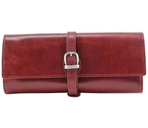 Tony Perotti Womens Italian Bull Leather [Personalized Initials Embossing] Grande Jewelry Roll Travel Organizer in Red