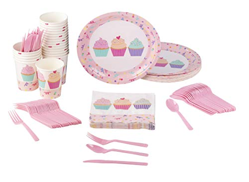 (Disposable Dinnerware Set - Serves 24 - Cupcake Party Supplies for Kids Birthdays, Cupcake and Confetti Design, Includes Plastic Knives, Spoons, Forks, Paper Plates, Napkins,)