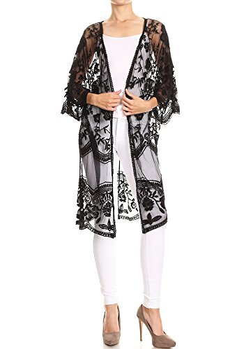 Anna-Kaci Womens Long Embroidered Lace Kimono Cardigan with Half Sleeves, Black, Onesize