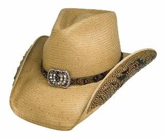 Bullhide Montecarlo Cowgirl Fantasy Shantung Panama Studded on Hatband & Brim Pecan Small